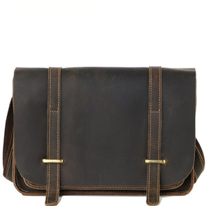 Minimal Espresso Leather Messenger Bag - Gritty Rustic Leather Co.
