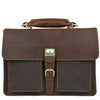 Classic Lock & Key Dark Brown Leather Briefcase - Gritty Rustic Leather Co.