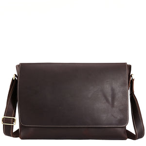 Classic Minimal Espresso Leather Messenger Bag - Gritty Rustic Leather Co.