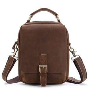 Rugged Medium Brown Leather Travel Sling Bag - Gritty Rustic Leather Co.