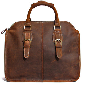 Rugged Medium Brown Tote Bag Briefcase - Gritty Rustic Leather Co.