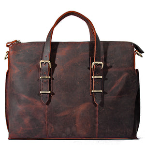 Minimal Espresso Leather Tote Bag - Gritty Rustic Leather Co.