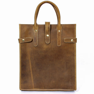 Minimal Tobacco Leather Shopping Tote Bag - Gritty Rustic Leather Co.