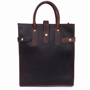 Minimal Espresso Leather Shopping Tote Bag - Gritty Rustic Leather Co.