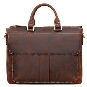 Classic Russet Leather Briefcase - Gritty Rustic Leather Co.