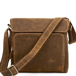 Rugged Tobacco Leather Messenger Bag - Gritty Rustic Leather Co.