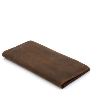 Minimal Medium Brown Leather Long Wallet - Gritty Rustic Leather Co.