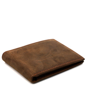 Minimal Medium Brown Leather Short Wallet - Gritty Rustic Leather Co.