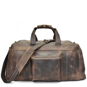 Rugged Mocha Leather Weekender - Gritty Rustic Leather Co.