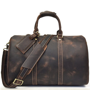 Minimal Dark Chocolate Leather Weekender - Gritty Rustic Leather Co.