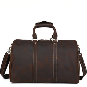 Minimal Espresso Leather Weekender - Gritty Rustic Leather Co.