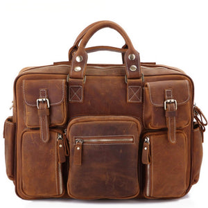 Rugged Russet Leather Carry-All Briefcase - Gritty Rustic Leather Co.
