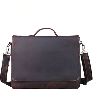 Minimal Espresso Leather Carry-All Briefcase - Gritty Rustic Leather Co.