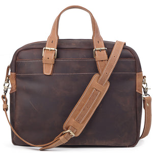 Rugged Two-Tone Leather Carry-All Briefcase - Gritty Rustic Leather Co.