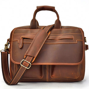 Classic Russet Leather Carry-all Briefcase - Gritty Rustic Leather Co.