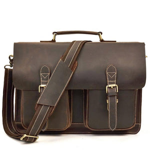 Classic Espresso Leather Briefcase - Gritty Rustic Leather Co.