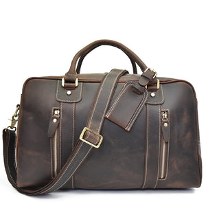 Rugged Espresso Leather Weekender - Gritty Rustic Leather Co.