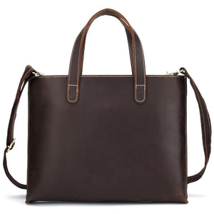 Minimal Dark Brown Leather Tote Bag - Gritty Rustic Leather Co.