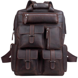 Men's Durable Work Crazy Horse Leather Tech Laptop Backpack - Gritty Rustic Leather Co.