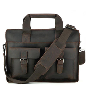 Rugged Espresso Leather Briefcase - Gritty Rustic Leather Co.