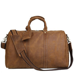 Minimal Saddle Tan Leather Weekender - Gritty Rustic Leather Co.