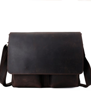 Minimalist Espresso Leather Cross Body Flap Satchel - Gritty Rustic Leather Co.