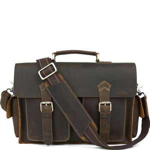 Vintage Espresso Leather Messenger Bag - Gritty Rustic Leather Co.