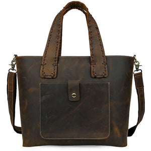Women's Full Grain Crazy Horse Leather Espresso Tote Bag - Gritty Rustic Leather Co.