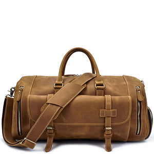 Military Tobacco Leather Weekender - Gritty Rustic Leather Co.