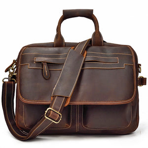 Classic Mahogany Leather Carry-all Briefcase - Gritty Rustic Leather Co.