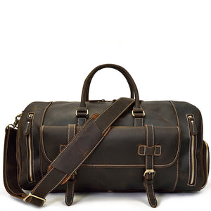 Military Espresso Leather Weekender - Gritty Rustic Leather Co.