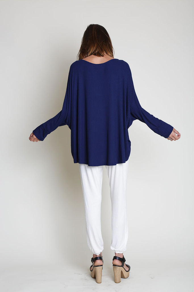 APPLE LONG SLEEVE SCOOP NECK CUFF RIB TOP