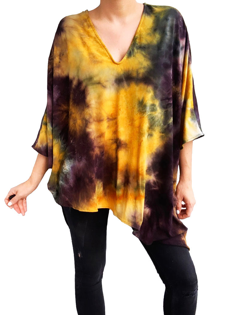 PONCHO ASYMMETRICAL V-NECK TOP tiedye