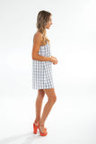 YK SLIP MINI DRESS cotton dbl checkered