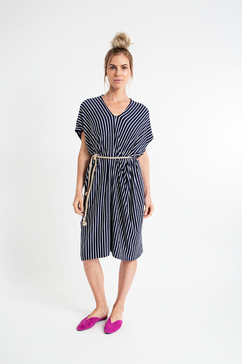 LISA MINI DRESS sleeveless fleece stripes