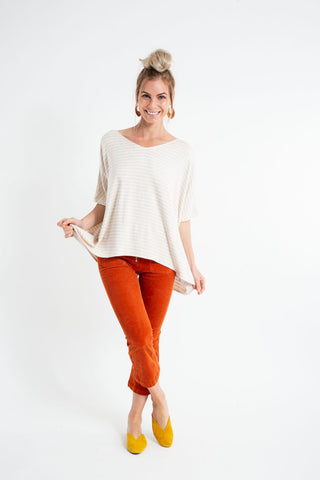 PONCHO DOUBLE EDGE VNECK TOP stripe bleed