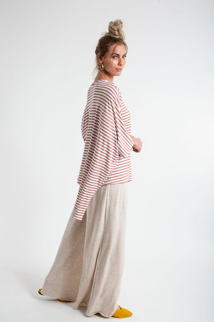 PONCHO DOUBLE EDGE VNECK TOP stripes