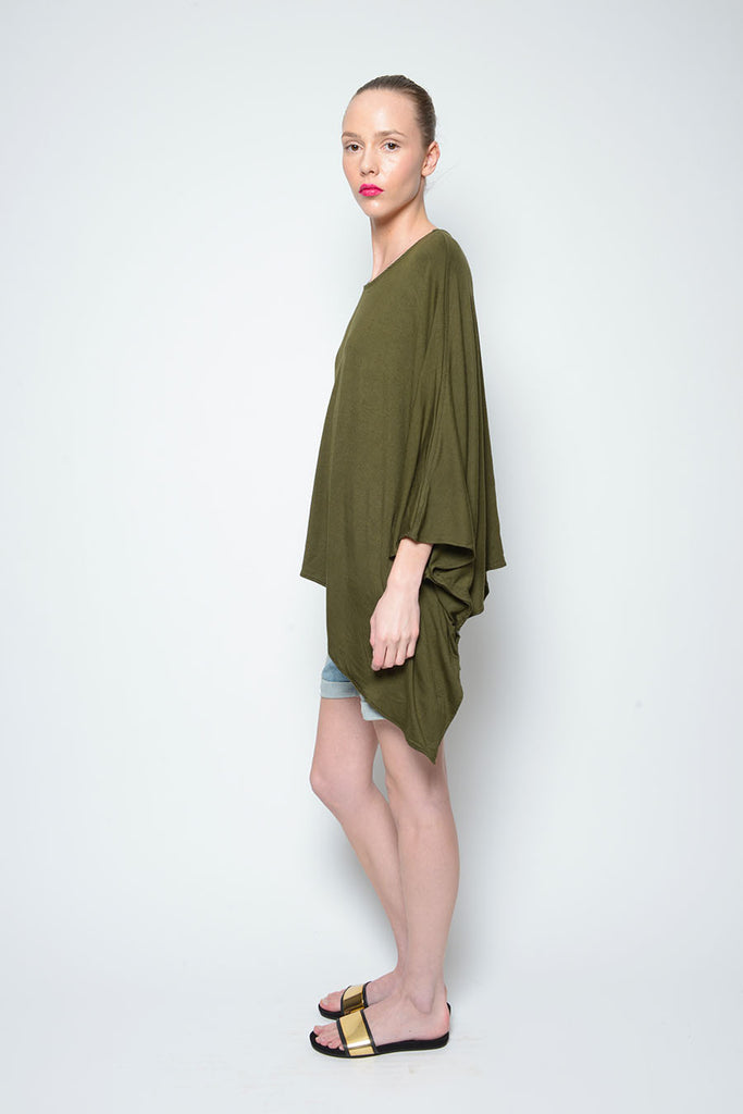 PONCHO TOP DOUBLE SCOOP NECK