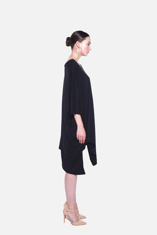 PONCHO DOUBLE EDGE VNECK DRESS