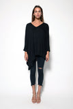 PONCHO ASYMMETRICAL V-NECK TOP W/ TRIM