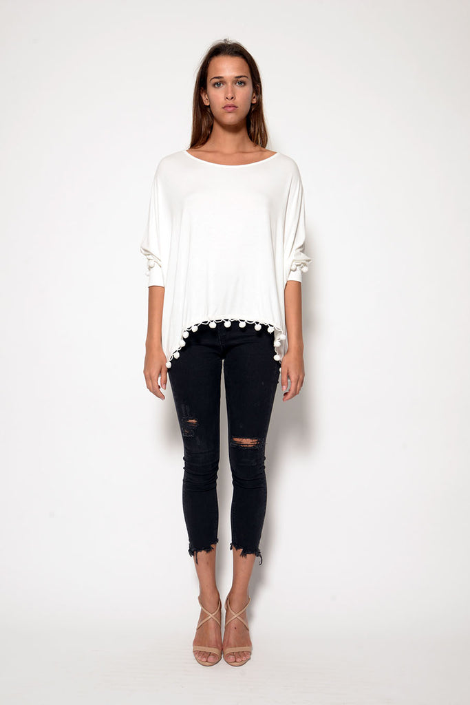 APPLE LONG SLEEVE SCOOP NECK CUFF TOP W/ POM POM