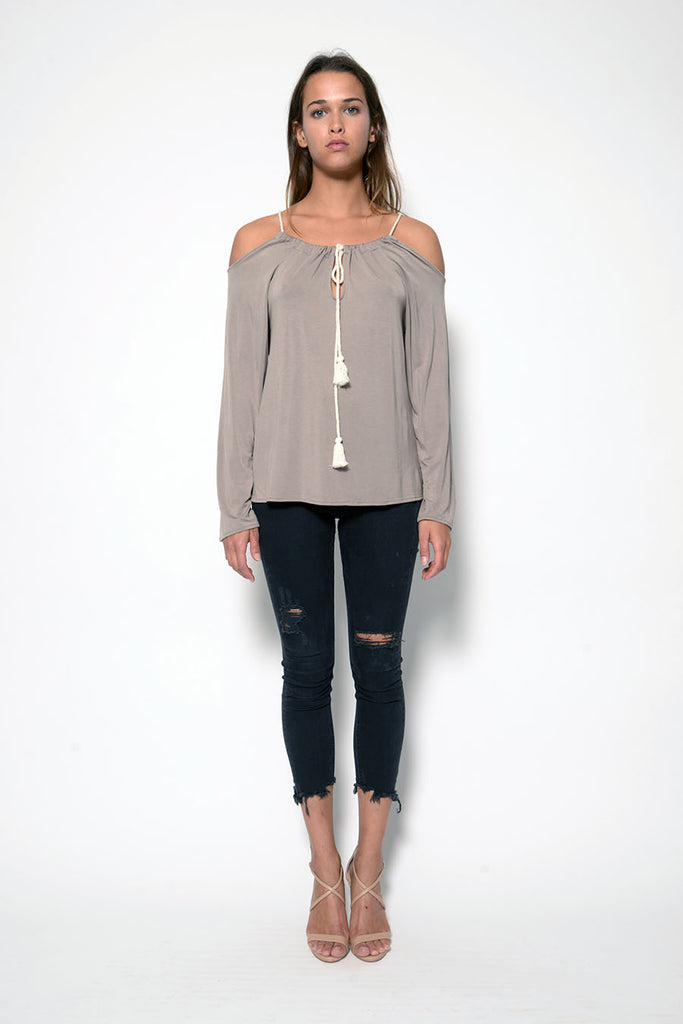 ASHLEY TOP W/ TASSELS