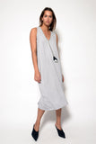 TARA HIGH VNECK 3/4 DRESS W/ TASSEL