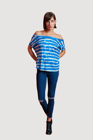 PONCHO DOUBLE EDGE VNECK STRIPE TOP