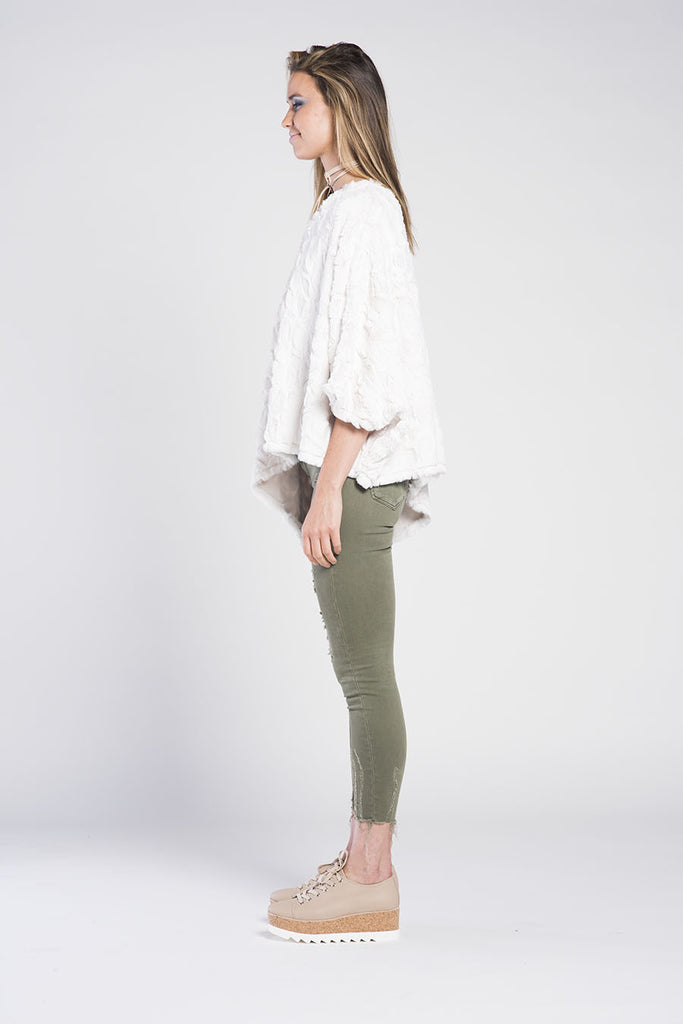 PONCHO ASYMMETRICAL V-NECK SNUGGLE TOP