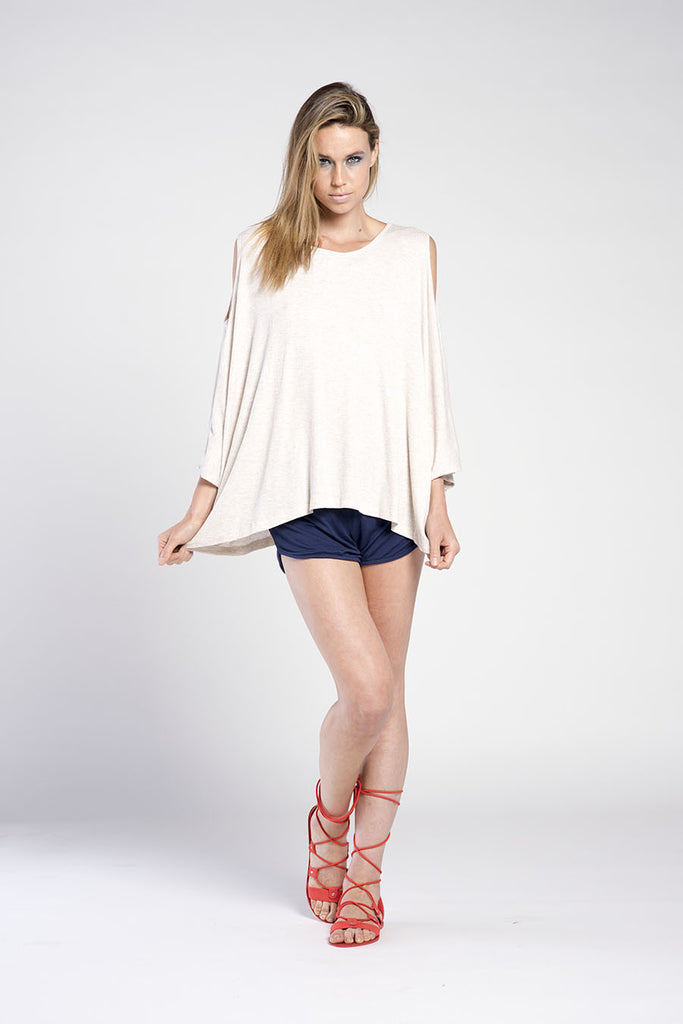 PONCHO COLD SHOULDER RIB TOP