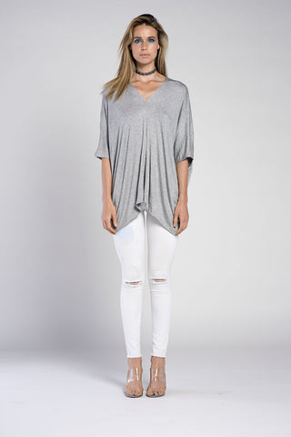 APPLE 3/4 SLEEVE SCOOP NECK RIB TOP