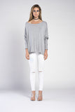 APPLE LONG SLEEVE SCOOP NECK CUFF TOP