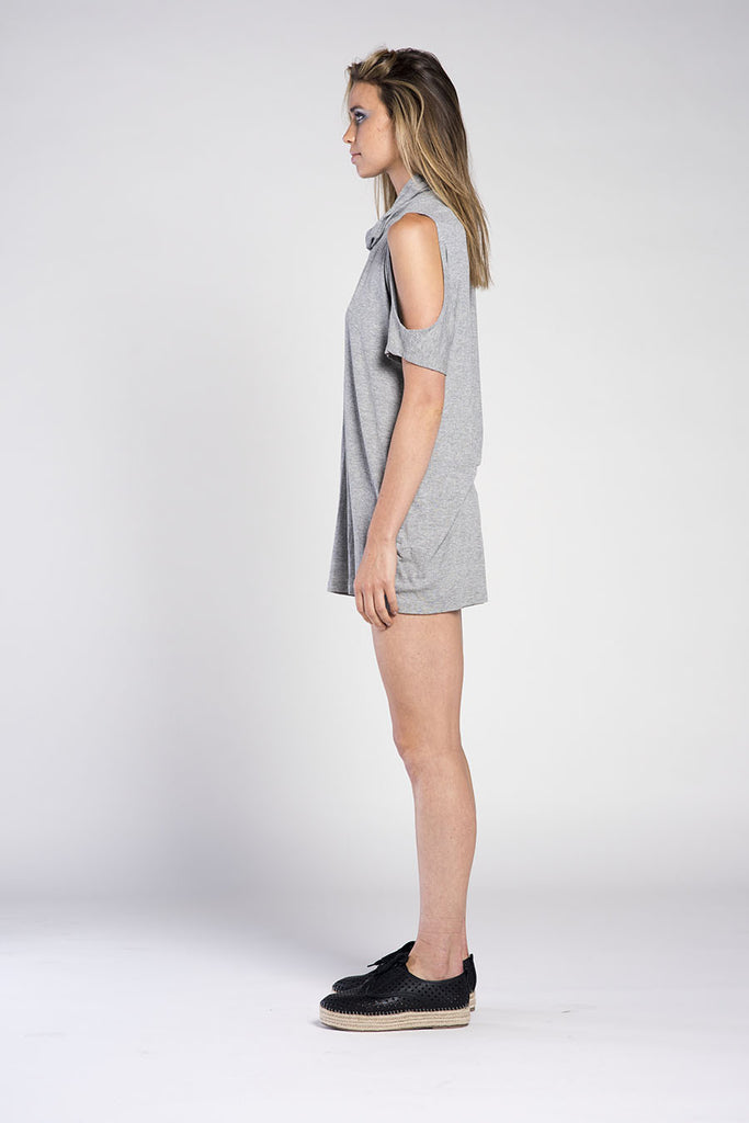 ONTARIO DRESS OPEN SHOULDER - RIBBED