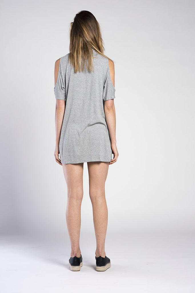 ONTARIO OPEN SHOULDER RIB MINI DRESS